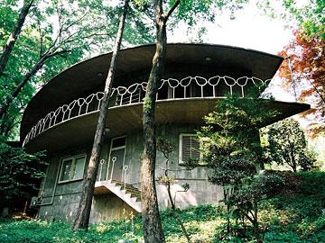 図書館 斜面側の外観