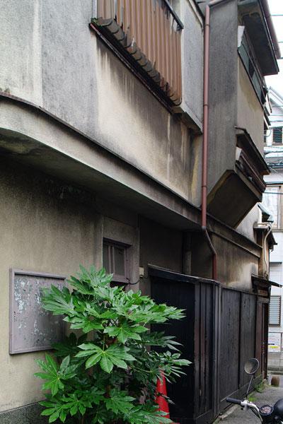 側方路地に面した外壁。